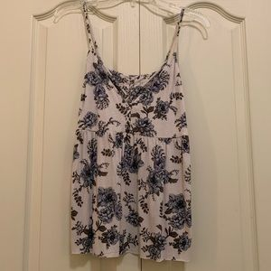 Blue and White Floral Tank